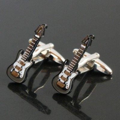 画像1: ブラックエレキギターカフスボタン(カフリンクス)