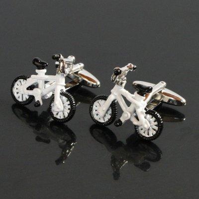 画像1: ホワイト自転車カフスボタン(カフリンクス)