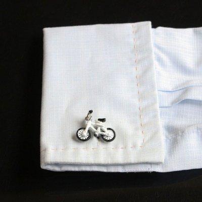 画像3: ホワイト自転車カフスボタン(カフリンクス)