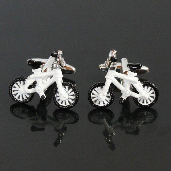 画像1: ホワイト自転車カフスボタン(カフリンクス) (1)