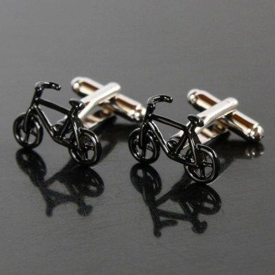 画像1: ブラック自転車カフスボタン(カフリンクス)