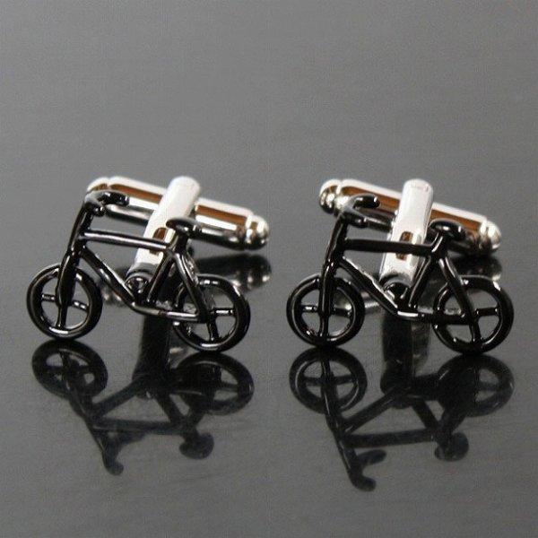 画像1: ブラック自転車カフスボタン(カフリンクス) (1)