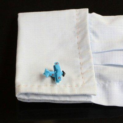 画像3: ブルー飛行機カフスボタン(カフリンクス)
