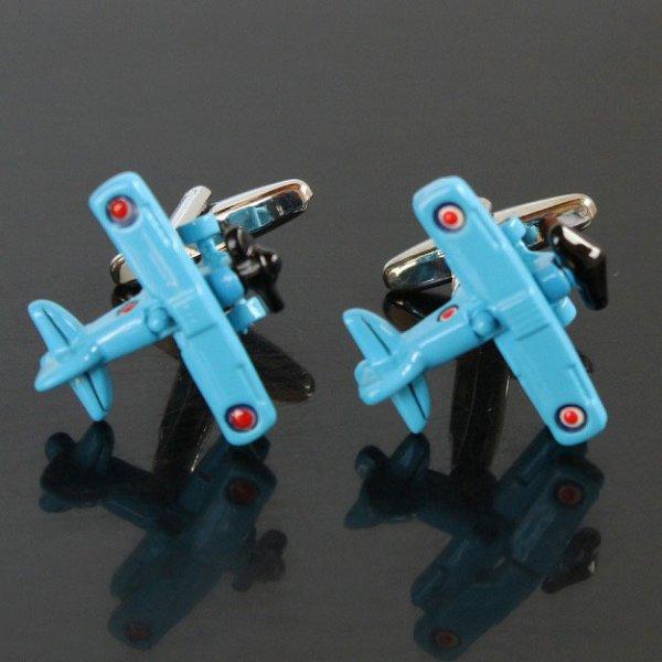 画像1: ブルー飛行機カフスボタン(カフリンクス) (1)