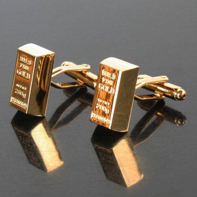 画像1: ゴールドインゴットカフスボタン(カフリンクス)