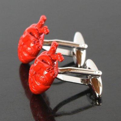 画像2: 心臓モチーフカフスボタン(カフリンクス)