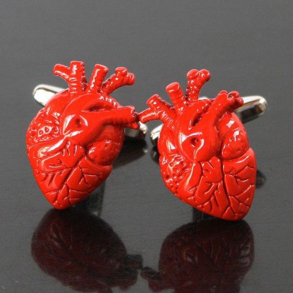 画像1: 心臓モチーフカフスボタン(カフリンクス) (1)