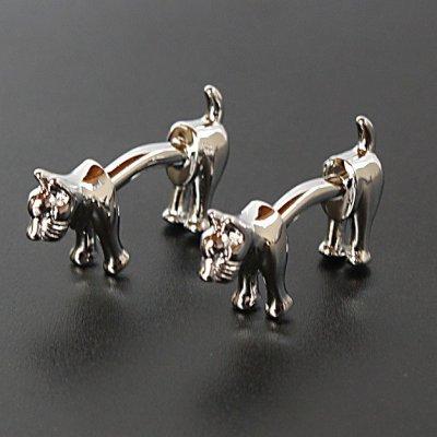 画像1: 犬モチーフダブルエンドカフスボタン(カフリンクス)