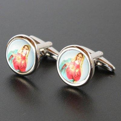 画像1: 聖母マリアモチーフラウンドカフスボタン(カフリンクス)