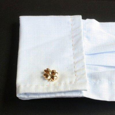 画像3: ゴールド四葉のクローバーカフスボタン(カフリンクス)
