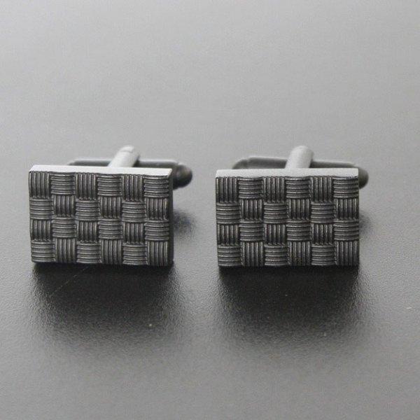 画像1: ブラックデザインカフスボタン(カフリンクス) (1)