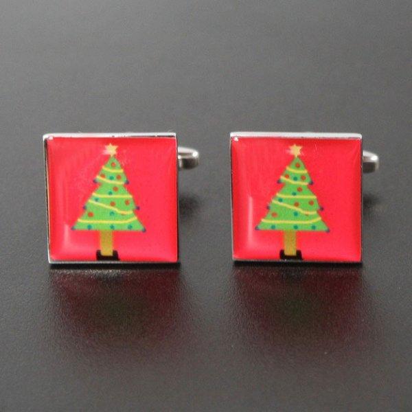画像1: スクエアークリスマスツリーカフスボタン(カフリンクス) (1)