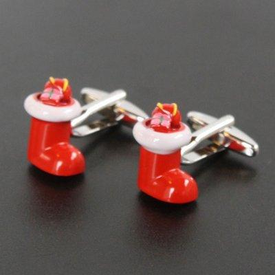 画像1: クリスマスブーツカフスボタン(カフリンクス)