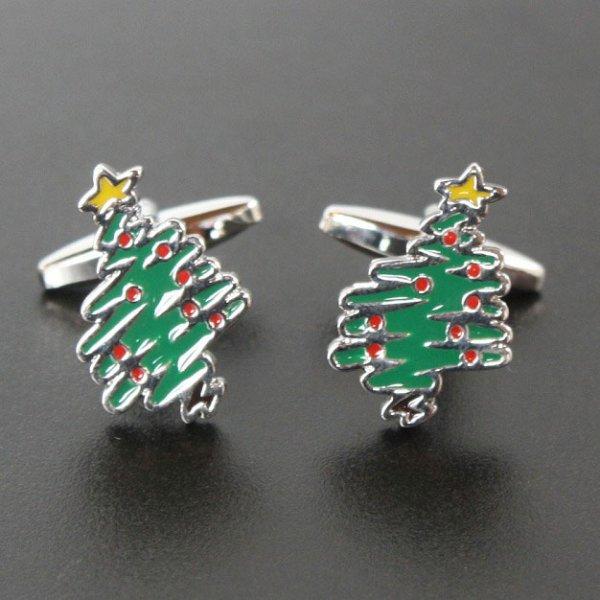 画像1: クリスマスツリーカフスボタン(カフリンクス) (1)