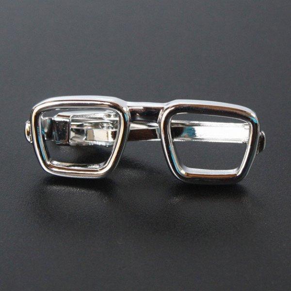 画像1: 眼鏡モチーフネクタイピン(タイバー) (1)