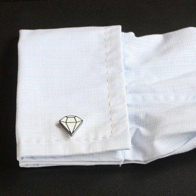 画像3: ダイヤモンドデザインカフスボタン(カフリンクス)