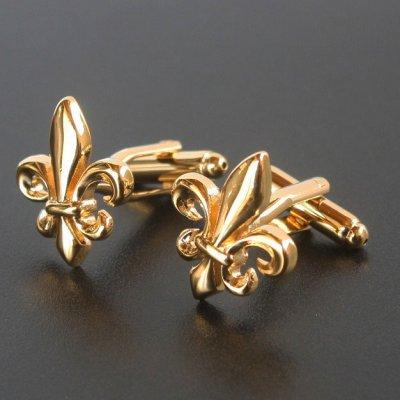 画像1: ゴールドフレアー(ユリの紋章)カフスボタン(カフリンクス)