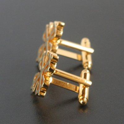 画像2: ゴールドクロスクローバーカフスボタン(カフリンクス)