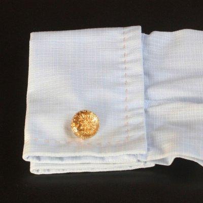 画像3: ラウンドゴールドカフスボタン(カフリンクス)