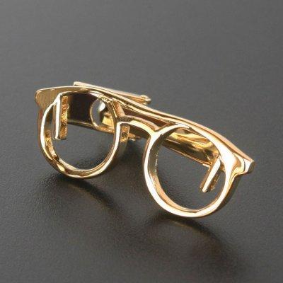 画像1: ゴールド眼鏡デザインネクタイピン(タイバー)