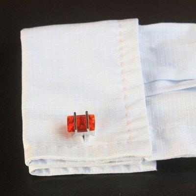 画像3: オレンジレッドレクタングルカフスボタンボタン(カフリンクス)
