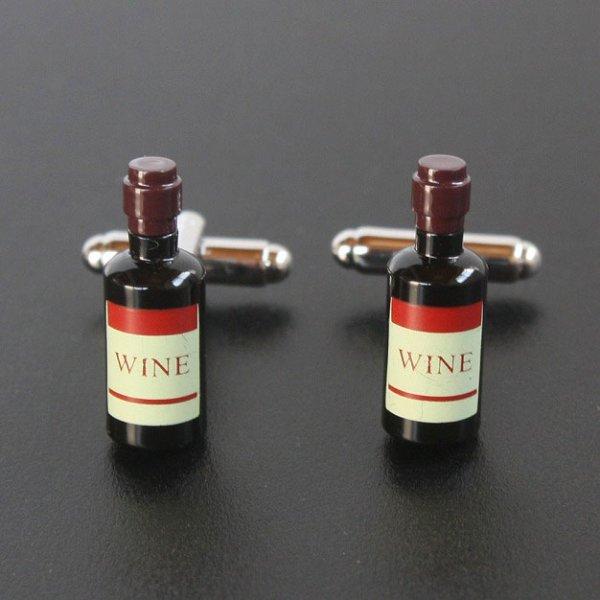画像1: ワインボトルカフスボタン(カフリンクス) (1)