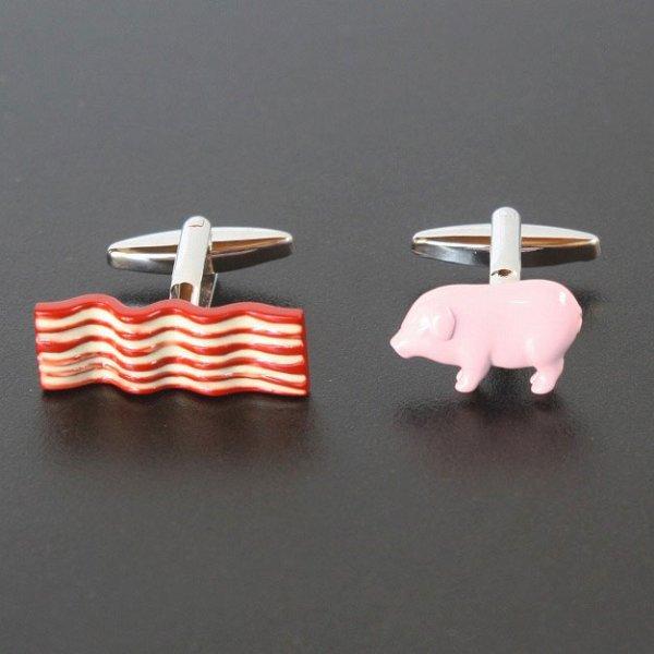 画像1: 豚とベーコンカフスボタン・カフリンクス メンズ cf2026 (1)