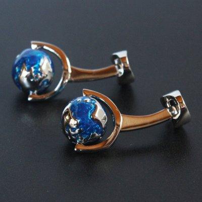 画像2: 青い地球儀カフスボタン
