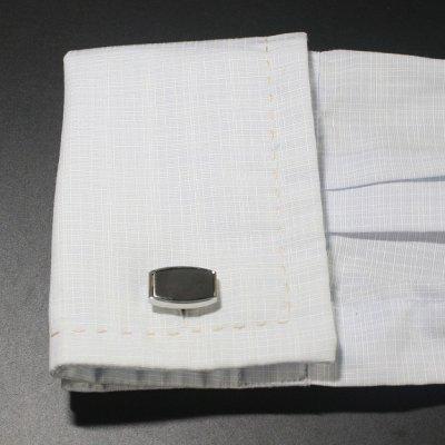 画像3: ブラック シルバーフレームカフスボタン