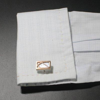 画像3: ホワイトシェルインレイピンクゴールドフレームカフスボタン
