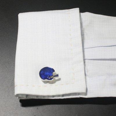 画像3: ブルーアメリカンフットボールヘルメットカフスボタン