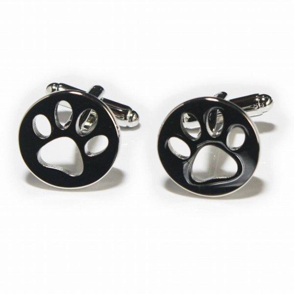 画像1: ラウンド猫の足跡カフスボタン (1)