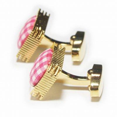 画像2: ピンクギンガムチェック&ゴールドカフスボタン