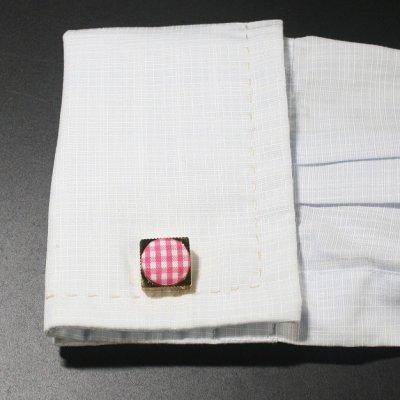 画像3: ピンクギンガムチェック&ゴールドカフスボタン