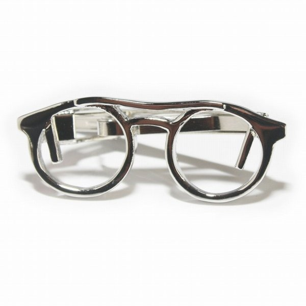 画像1: シャイニー眼鏡デザインネクタイピン (1)
