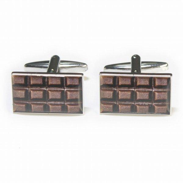 画像1: ダークチョコレートバーカフスボタン (1)