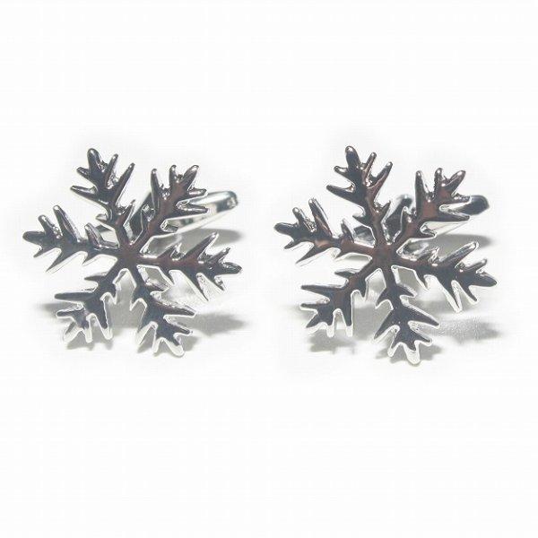 画像1: 雪の結晶モチーフカフスボタン (1)