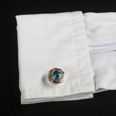 画像3: ブルークリスタル付きエスニックカフスボタン