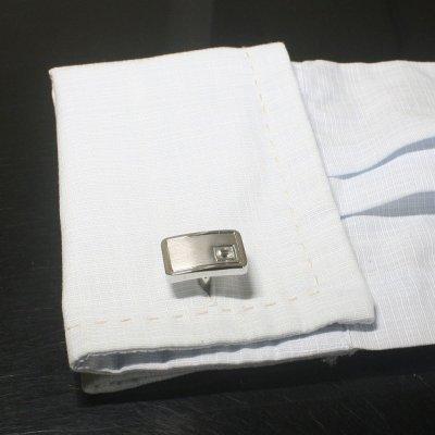 画像3: マットレクタングルクリスタルスワロフスキーカフスボタン