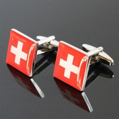 画像1: スイス国旗カフスボタン(カフリンクス)