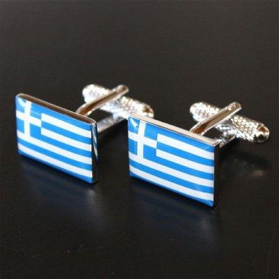 画像1: ギリシャ国旗カフスボタン(カフリンクス)