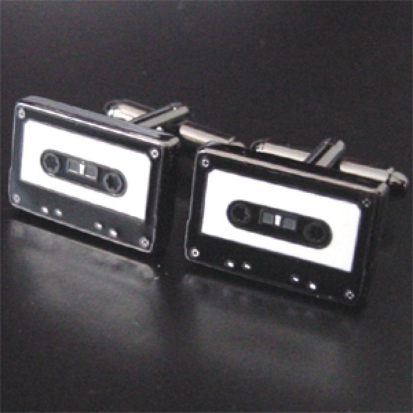 画像1: カセットテープカフスボタン(カフリンクス) (1)