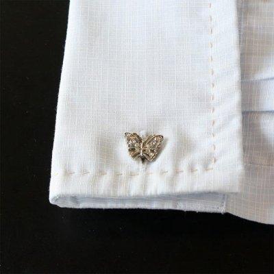 画像3: 蝶々クリスタル・カフスボタン(カフリンクス)
