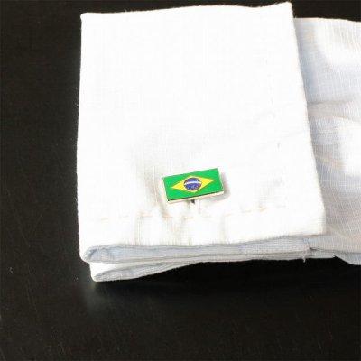 画像3: ブラジル国旗カフスボタン(カフリンクス)