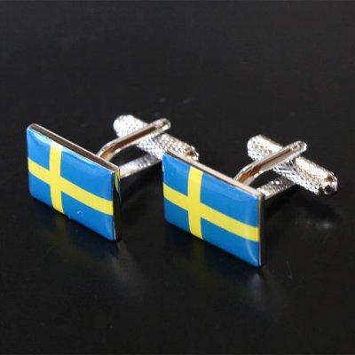 画像1: スウェーデン国旗カフスボタン(カフリンクス)