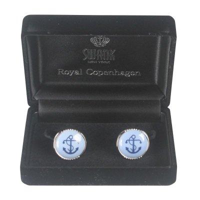 画像3: Swank & Royal Copenhagen スワンク & ロイヤルコペンハーゲン ホワイトブルーデザイン2カフスボタン