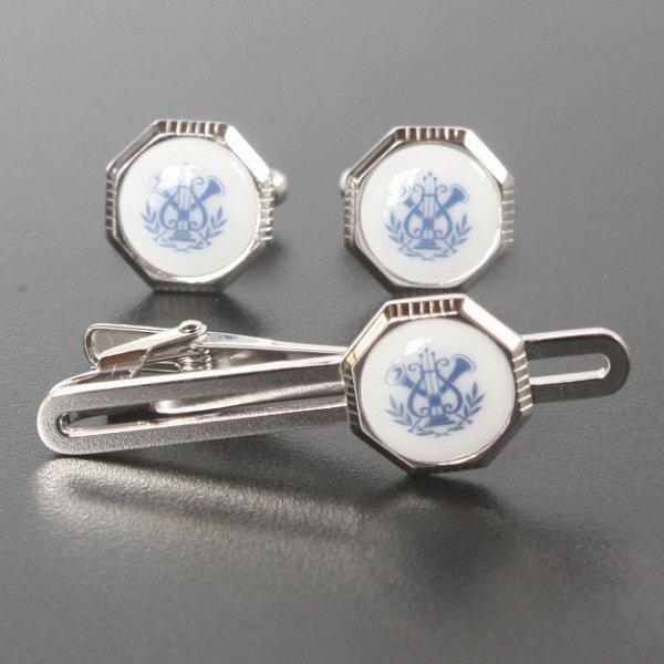 画像1: Swank & Royal Copenhagen スワンク & ロイヤルコペンハーゲン ホワイトブルーデザイン1カフスボタン・ネクタイピンセット (1)